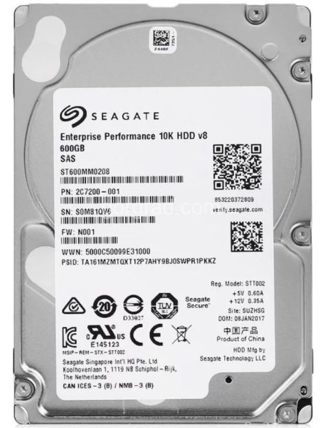 HDD 600GB 10K 2.5″ 128Mb SAS 12Gb/s Seagate Enterprise Performance ST600MM0208. Толщина 15 мм